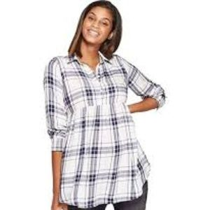 NWT Isabel Maternity Long Sleeve Plaid Flannel Tie